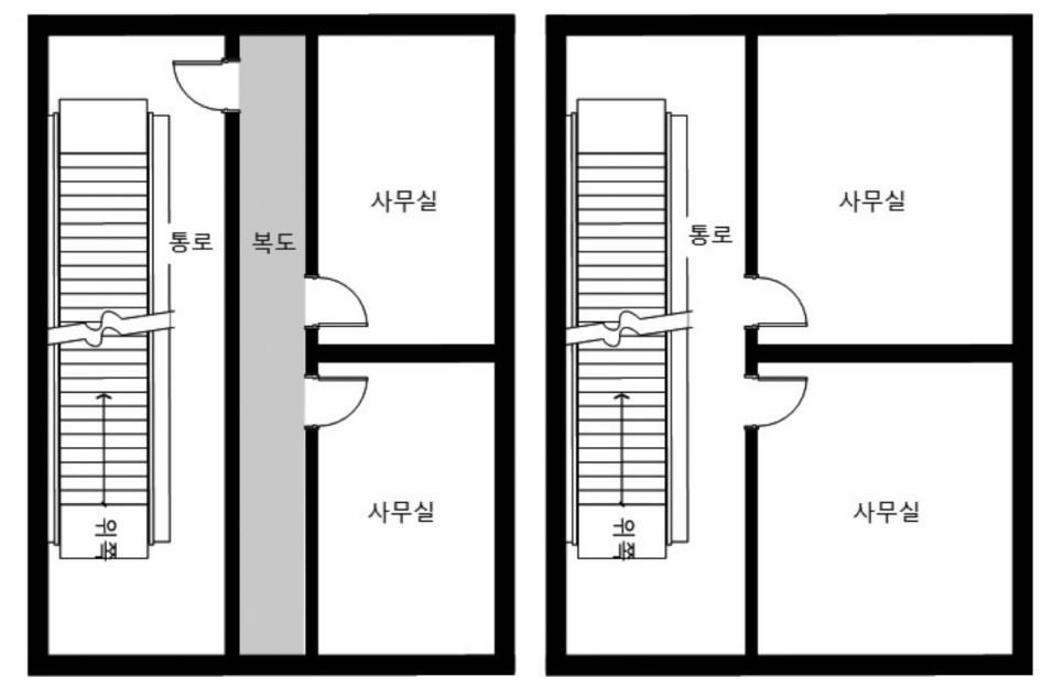 일방향 계단의 직통계단 인정 여부: 직통계단(왼쪽), 직통계단 아님(오른쪽)